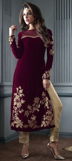 446427 Red and Maroon  color family Party Wear Salwar Kameez in Velvet fabric with Machine Embroidery, Stone work .