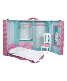 Take a look at this Pink Dot Bedroom Storage Trunk Set for 18'' Doll today!