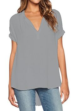 Dokotoo Womens V Neck Short Sleeve Oversize Chiffon Blouse Shirt X-Large Grey,Grey,(US16-18)XL - http://www.darrenblogs.com/2017/02/dokotoo-womens-v-neck-short-sleeve-oversize-chiffon-blouse-shirt-x-large-greygreyus16-18xl/