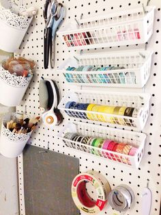 Washi tape pegboard organization diy organizing craft room storage, craft r Craft Room Storage, Craft Room Organisation, Sewing Room Organization, Organization Ideas, Pegboard Craft Room, Craft Room Organizing, Ikea Pegboard, Pegboard Garage, Sewing Rooms