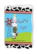 Farm Animals - Personalized Baby Thank You Cards With Squiggle Shape  #farmanimal