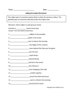 These subject and predicate worksheets are great for working with subject and predicate. Use these subject and predicate worksheets for the beginner and intermediate levels. English Grammar Worksheets, Vocabulary Worksheets, Printable Worksheets, Grammar Tips, Grammar Lessons, Free Printable, Types Of Sentences Worksheet, Subject And Predicate Worksheets, Topic Sentences