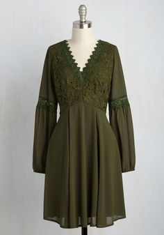 Blithe as We Know It Dress - Green, Lace, Casual, Daytime Party, Boho, A-line, Long Sleeve, Fall, Winter, Woven, Better, Mid-length