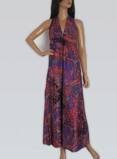 Vintage 1970s Colourful Ethnic Print Long Halter Neck Maxi Dress available to buy online at Virtual Vintage Clothing £30