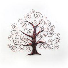 Tree Swirls Metal Card Holder Wall Art