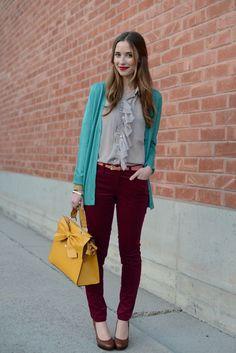 Burgundy pants and teal cardigan, Hattie