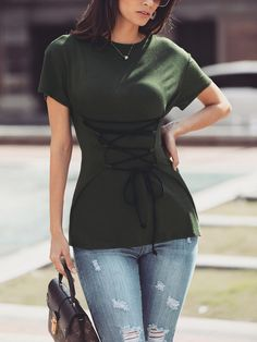 4db59a637bf Shop Lace-Up Tunic Short Sleeve T-Shirt – Discover sexy women fashion at  Boutiquefeel