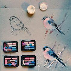 Wo so manch anderer Künstler seine Pinsel und Farbtuben verstaut, hatElena Tatkinaaus Moskau ihre unzähligen Dosen mit Kreide zu stehen. Alle fein säuberlich nach Farben sortiert - und davon hat sie wirklich jede Menge. Die große Auswahl wird aber auch b