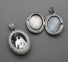 Silver Oval Lace Design Wedding Bouquet Photo Locket Charm