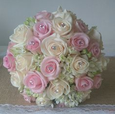 champagne and pink bridal bouquet with diamonds