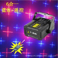 6 patterns Remote red and blue laser light lighting KTV lamp bar laser light flash