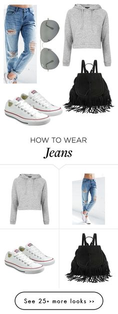 """boyfriend jeans in casual"" by tamibu on Polyvore featuring Billabong, Topshop, Converse and Ray-Ban"