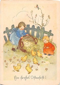 Ein frohes Osterfest! duck babies village landscape fairy Easter