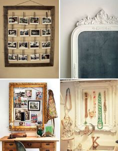 Picture/miror frames are a great recycle item with awesome potential. I've also used chicken wire in the centre, then displayed earings!