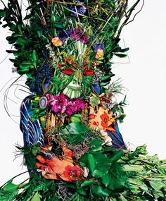 "sayyouneedlove: "" Tati Cotliar in ""Diamond in the Roughage"" for T Magazine 2011 summer issue. Photographed by Richard Burbridge Styled by Robbie Spencer "" Richard Burbridge, Giuseppe Arcimboldo, Botanical Fashion, Art Commerce, Spencer, T Magazine, Image Archive, Caravaggio, Green Man"