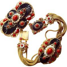 Czech Glass Enamel Brooch Pin Bracelet Demi Parure