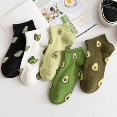 Funny Socks, Cute Socks, Estilo Harajuku, Cute Avocado, Fresh Avocado, Short Socks, Cotton Socks, Ankle Socks, Cartoon Styles