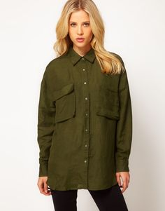 ASOS Military Shirt - Another typical military inspired shirt including the collar and buttons down, along with the commonly seen big front pockets.