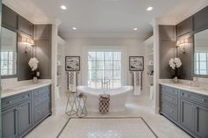 master bathroom colors master bathroom with dark gray wall panels two vanities and freestanding tub master bathroom colors pictures Luxury Master Bathrooms, Large Bathrooms, Grey Bathrooms, Amazing Bathrooms, Small Bathroom, Luxurious Bathrooms, Best Bathrooms, Mansion Bathrooms, Best Bathroom Colors