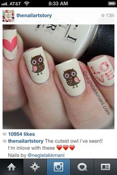 Adorable owl nails