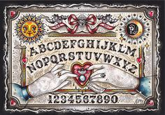CREEP HEART OUIJA BOARD PRINT - Add some mystical elements to your office wall with this Ouija Board print by Ella Mobbs. This high quality print is signed by the artist and comes in a protective cellophane sleeve with cardboard backing.