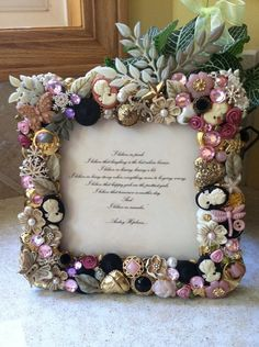 Victorian Style Button Picture frame 5x5 by WildflowerCabins, $30.00