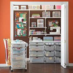 Great way to store arts & crafts supplies if you have a ton.  Very organized and easy to get to everything.