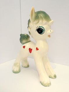 Vintage Ceramic Pony Figurine, Hearts, Horse, Dee Bee Company Imports, Made in Japan, My Little Pony