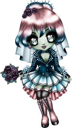 Anime Chibi, Manga Anime, Girl Cartoon, Cute Cartoon, Cartoon Art, Dulceros Halloween, Halloween Fashion, Gothic Fantasy Art, Gothic Fairy