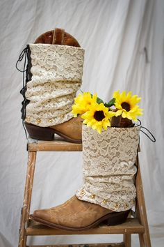 Really cute idea, lace boot covers to change up the look of your boots.