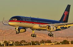 TRUMP Boeing 757-2J4 N757AF gliding onto the runway at Las Vegas-McCarran.