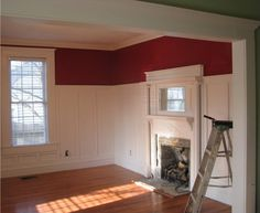 Tall wainscot with fireplace similar to Turner Street residence.