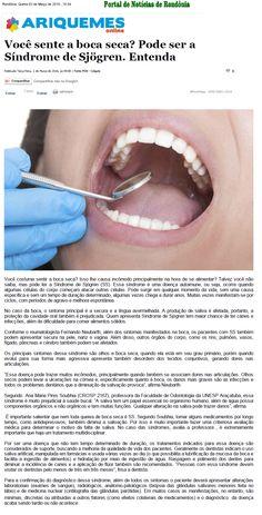 Você sente a boca seca? Pode ser a Síndrome de Sjögren. Entenda. Fonte: Ariquemes Online