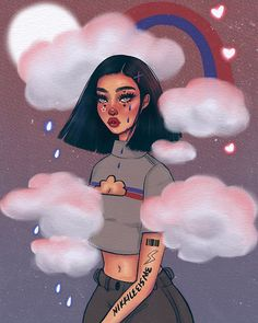 Here is my entry for dtiys. I got a little overly creative lol it was fun but I did keep judging it pretty harshly so I am just… Art Drawings Sketches, Cute Drawings, Arte Dope, Black Art Painting, Dope Cartoon Art, Grunge Art, Polychromos, Cartoon Wallpaper, Wallpaper Quotes