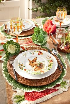 What better way to create a spring-inspired place setting than with a bunny plat… The Effective Pictures We Offer You About easter A quality picture. Easter Table Settings, Easter Table Decorations, Decoration Table, Easter Decor, Easter Ideas, Decorating For Easter, Easter Centerpiece, Easter Dinner, Easter Brunch