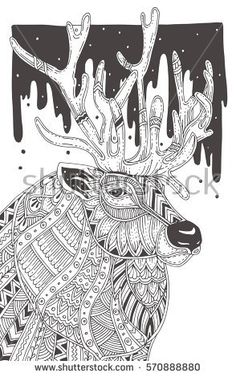 Hand-drawn reindeer with ethnic pattern. Coloring page - zendala, for  relaxation and meditation for adults, vector illustration, isolated on a white background. Zen doodle.