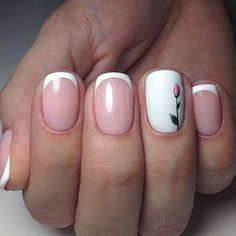 White top, flower full set. Gel, acrylic, pink nails, french Mani, cute nail idea.