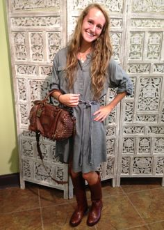 How cute is Abi in our new chambray dress, Frye boots, and Frye handbag?  Now available at Emma Laura-Graceful Gold located in Ivy Place 2032B Veterans Blvd. Dublin, GA 31021 478-272-2095 www.emmalaura.com Check us out on Facebook at https://www.facebook.com/pages/GRACEFUL-GOLD-JEWELRY-CO/163839008625