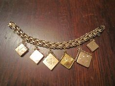 Elco Gold Filled Charm Bracelet with 6 Lockets by HeartoftheSouthwest on Etsy