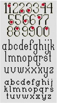 Don& use ordinary letters to express extraordinary feelings. The Beloved Cross Stitch Alphabet Pattern features elegant black letters outlined in gold metallic. A red heart is tucked into the curves. Cross Stitch Letter Patterns, Cross Stitch Numbers, Cross Stitch Letters, Cross Stitch Charts, Cross Stitch Designs, Stitch Patterns, Wedding Cross Stitch, Alphabet Charts, Black Letter