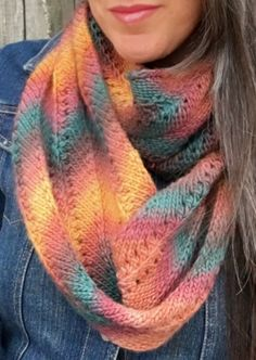 Knitting Pattern for Easy 2-Row Repeat Autumn Infinity Scarf Cowl - This beautiful chevron lace infinity scarf cowl uses a super simple 2 row repeat. Looks great in multi-color yarn! tba chevron infinity multi easy colorful