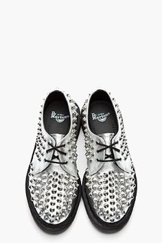 DR. MARTENS Metallic Silver Studded Leather Harlen 3-Eye Shoes