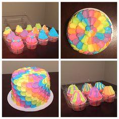Troll hair cupcakes and rainbow petal cake. Made November 2016.