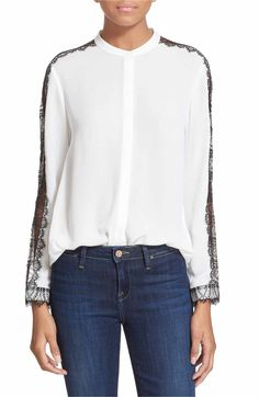780d1b423060 Main Image - The Kooples Lace Inset Crepe Blouse Crepe Top
