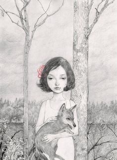 The Little Red Riding Hood, Graphite on Watercolor paper. 2012. Print available http://helicewen.bigcartel.com