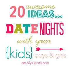 You'll love these 20 ideas for Date Nights with your Kids...everything from picnics at the park to flying paper airplanes!