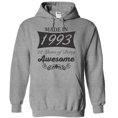 Made in 1993, 22 years of being awesome - Limited Editi - #tshirt drawing #hoodie casual. LIMITED TIME => https://www.sunfrog.com/Birth-Years/Made-in-1993-22-years-of-being-awesome--Limited-Edition-6742-SportsGrey-14826305-Hoodie.html?68278