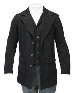 Steampunk Mens Black Cotton Solid Notch Collar Suit Coat | Gothic | Pirate | LARP | Cosplay | Retro | Vampire || Vigilante Town Coat
