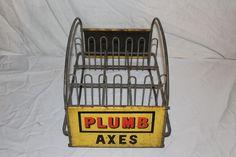 """Vintage 1950's Plumb Axes Display Tool 2 Sided 15"""" Embossed Metal Gas Oil Sign"""