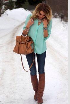 Aqua shirt + jeans + boots